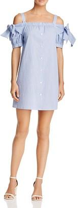 AQUA Cold-Shoulder Striped Button-Front Dress - 100% Exclusive $68 thestylecure.com