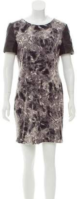 Yigal Azrouel Cut25 by Printed Leather-Paneled Dress