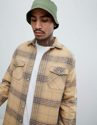 Asos DESIGN brushed check over shirt in camel with double pockets