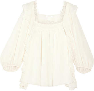 Chloé - Ruffled Cotton And Silk-blend Blouse - White