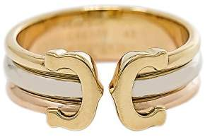 Cartier Double C 18K Yellow, Rose and White Gold Band Ring Size 5
