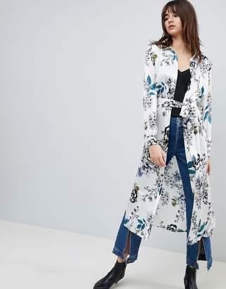 Gestuz Silk Long Shirt Dress With Tie