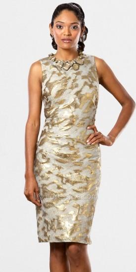 Mignon High Neck Gold Print Cocktail Dresses
