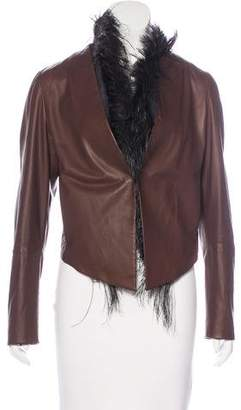 Brunello Cucinelli Ostrich Feather-Lined Leather Jacket