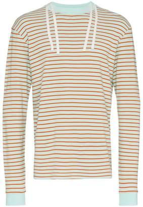 Vyner Articles stripe drawstring cotton sweatshirt