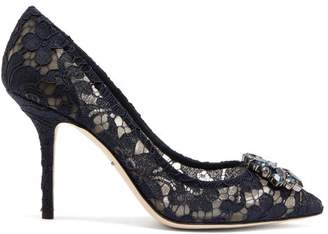 Dolce & Gabbana Bellucci Crystal Embellished Lace Pumps - Womens - Navy