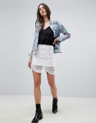 Glamorous Crochet Detail Skirt