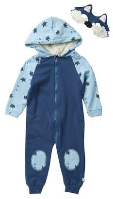 Rosie Pope Wolf Hooded Romper & Mask Set (Baby Boys)