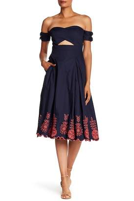 Rachel Roy Embroidered Fit & Flare Dress