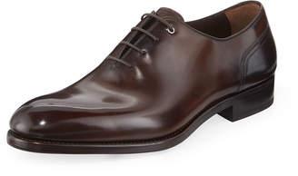 Salvatore Ferragamo Men's Barclay Burnished Tramezza Leather Lace-Up Oxford, Brown