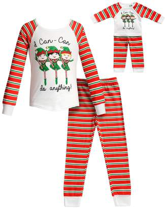 "Dollie & Me Girls 4-14 I Can-Can Do Anything"" Christmas Elf Top & Bottoms Pajama Set & Matching Doll Pajamas"