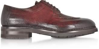 Santoni Burgundy Leather Derby Shoes w/Rubber Sole