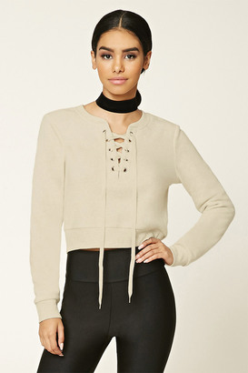 FOREVER 21+ Lace-Up Pullover $17.90 thestylecure.com