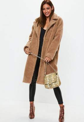 Missguided Tall Camel Oversized Chunky Borg Teddy Coat, Camel