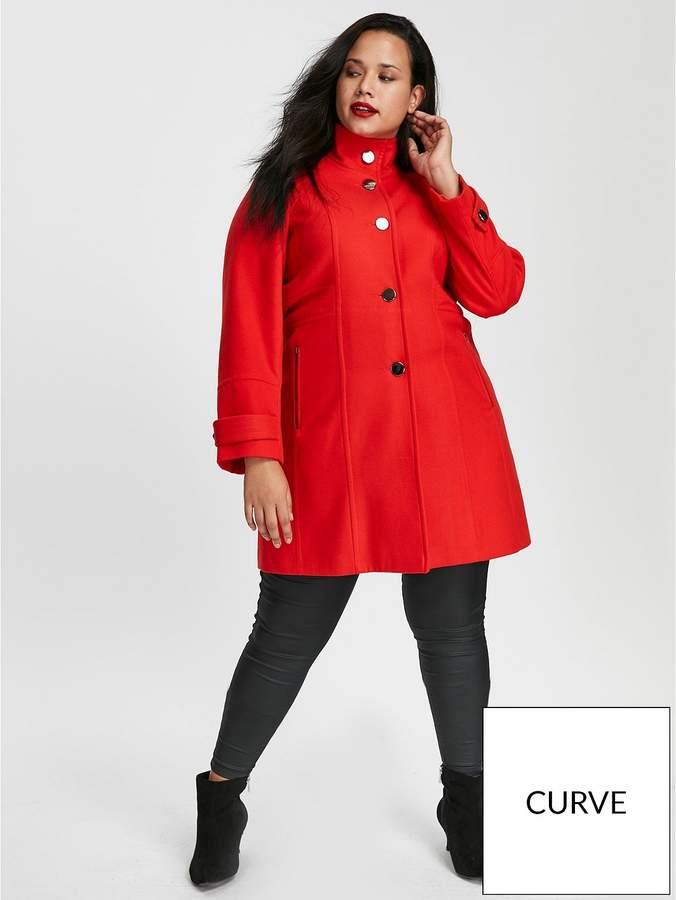 Funnel Neck Coat – Red