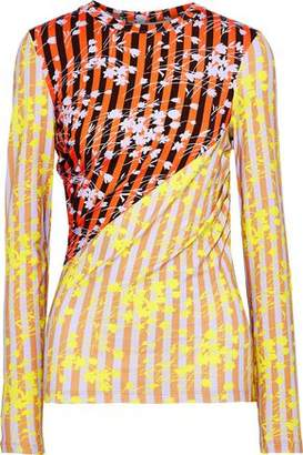 House of Holland Ruched Paneled Printed Jersey Top