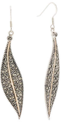 14k Gold And Sterling Silver Marcasite Leaf Earrings