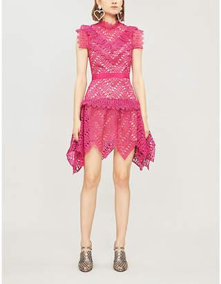 Self-Portrait Abstract triangle-lace mini dress
