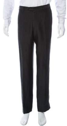 Armani Collezioni Wool Linen Blend Straight Leg Pants