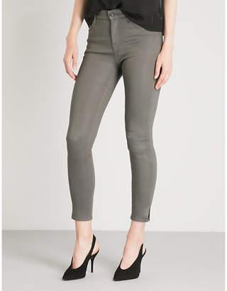 J Brand Alana coated skinny cropped high-rise jeans