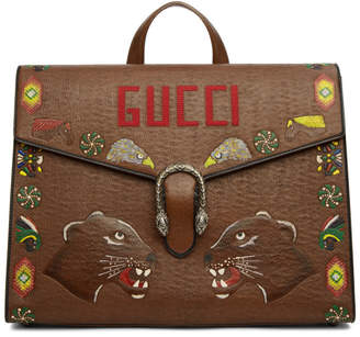 Gucci Brown Hand-Painted Dionysus Briefcase
