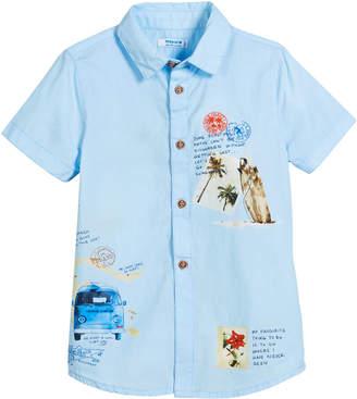 Mayoral Woven Short-Sleeve Map-Print Shirt, Size 3-7
