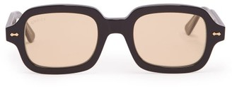 Gucci Round Square Frame Acetate Sunglasses - Mens - Black
