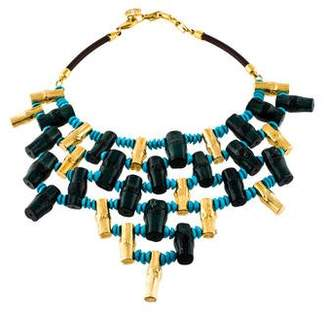 Tory Burch Composite Turquoise Birch Collar Necklace