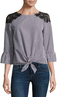BY AND BY by&by 3/4 Sleeve Boat Neck Crepe Lace Blouse-Juniors