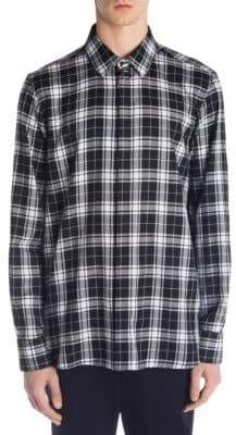 Neil Barrett Pierced Flannel Button-Down