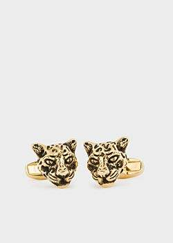 Paul Smith Men's Gold 'Leopard Head' Cufflinks