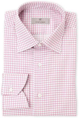 Canali White & Pink Check Modern Fit Dress Shirt