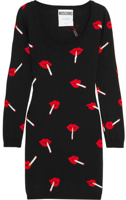 Moschino - Intarsia Wool Mini Dress - Black $650 thestylecure.com