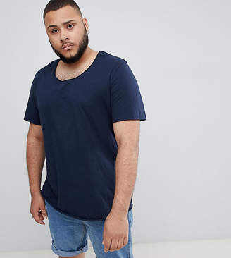 Jack and Jones Essentials Plus Size Longline T-Shirt With Raw Neck