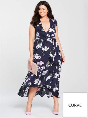 AX Paris CURVE High-Low Hem Floral Maxi Dress - Navy