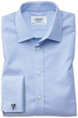Charles Tyrwhitt Classic Fit Egyptian Cotton Royal Oxford Sky Blue Dress Shirt French Cuff Size 17.5/34