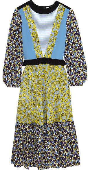 MSGM - Printed Silk Dress - Blue