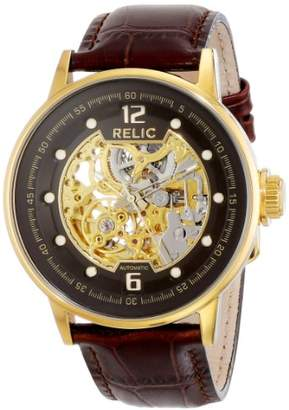 Relic Men's Damon Automatic Self-Winding Stainless Steel and Leather Skeleton Dial Watch