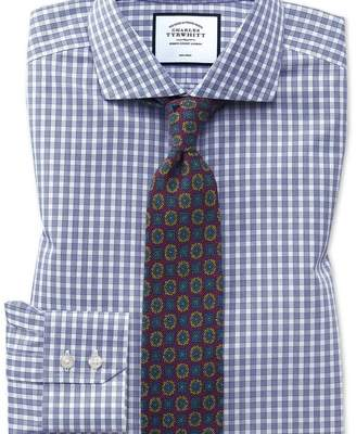 Charles Tyrwhitt Slim fit non-iron twill gingham blue shirt