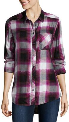 ARIZONA Arizona Long Sleeve Boyfriend Plaid Shirt-Juniors $22.99 thestylecure.com