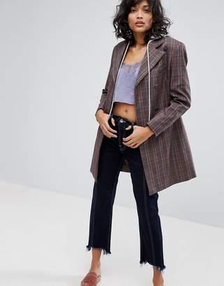 Style Nanda STYLENANDA Check Blazer With Detachable Hood