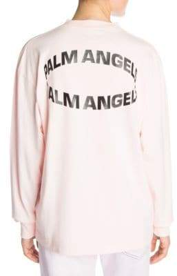 Palm Angels Women's Circle Logo Cotton Tee - Baby Pink Black - Size XXS