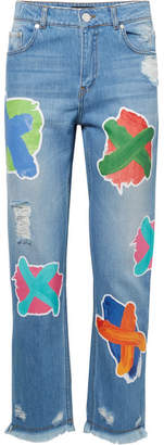 House of Holland Printed Boyfriend Jeans - Mid denim
