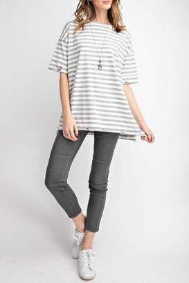 Easel Distressed Striped Tee