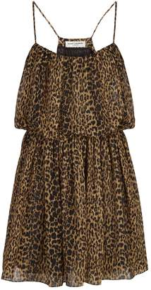 Saint Laurent Strappy Leopard Print Dress
