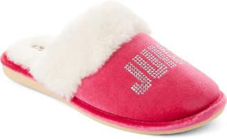 Juicy Couture Hot Pink Gabi Crystal Logo Slippers