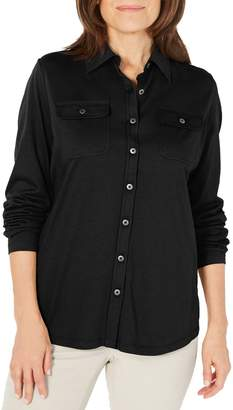 Karen Scott Long Sleeve Button-Down Top