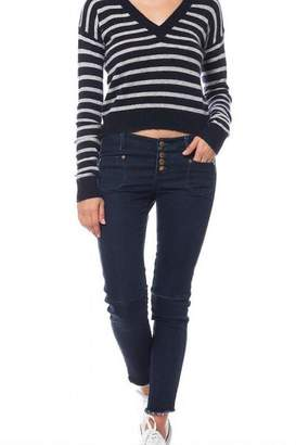 Olivaceous Cropped Striped Sweater