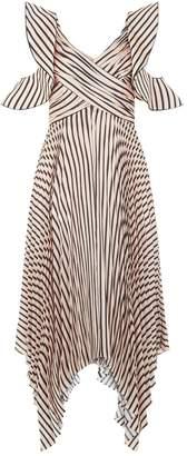 Self-Portrait Self Portrait Asymmetric Stripe Midi Dress
