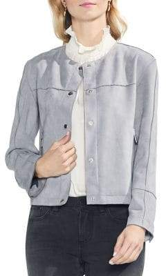 Vince Camuto Snap-Button Suede-Look Jacket